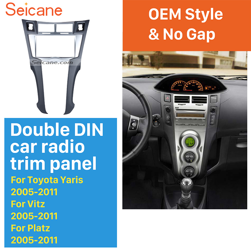 Seicane Silver Double Din Car Stereo Fascia Trim Bezel Audio frame for 2005-2011 Toyota Yaris Vitz Platz CD Trim Installation