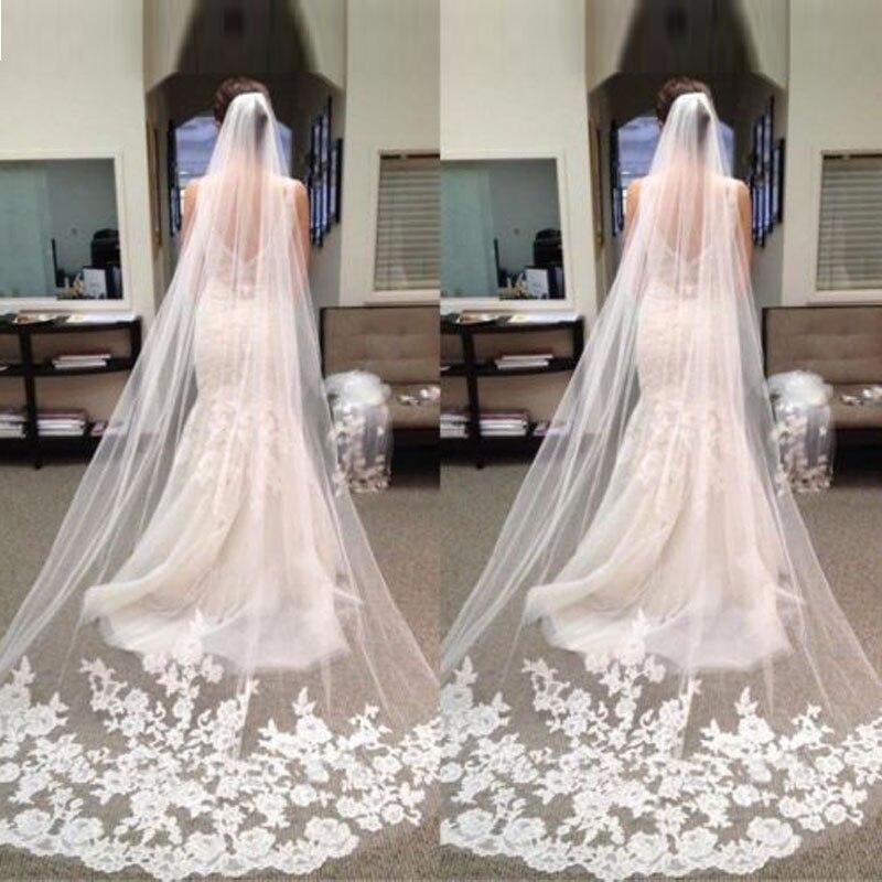 Wedding Veils Styles: 2017 New Elegant Long Bridal Hair Accessories Veils Free