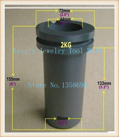Graphite Crucible For Melting Gold Silver Metal Gold Silver Scrap Casting Mould 2kg Capacity