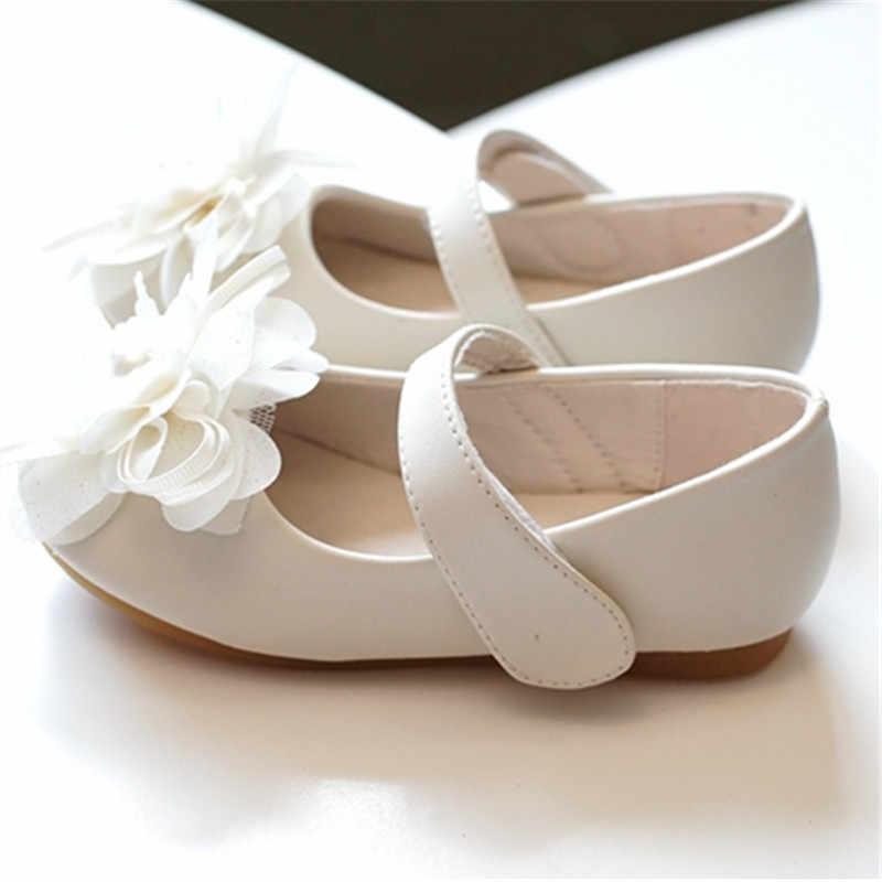 Белый Розовый Дети Малыш жемчуг цветок Дети Свадьба Вечеринка платье Принцесса кожаная обувь для девочек школьная танцевальная обувь От 1 до 16 лет