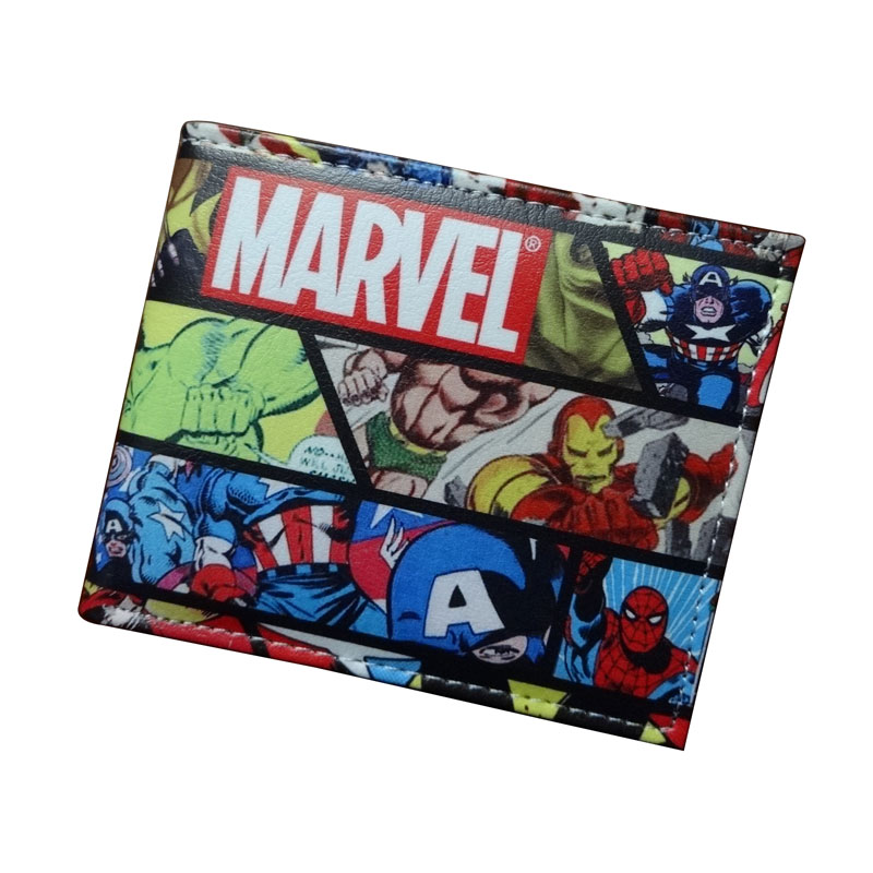 Comics DC Marvel dollar Price Wallets men Women Super Hero Anime Purse Creative Gift Fashion Leather Bags carteira masculina dc movie hero bat man anime men wallets dollar price short feminino coin purse money photo balsos card holder for boy girl gift
