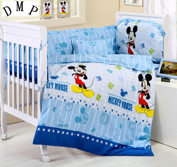 Promotion! 7pcs Cartoon 100% Cotton Baby Bumper Baby Nursery Comforter Cot Crib Bedding Set (bumper+duvet+matress+pillow) promotion 7pcs baby cot bumper 100