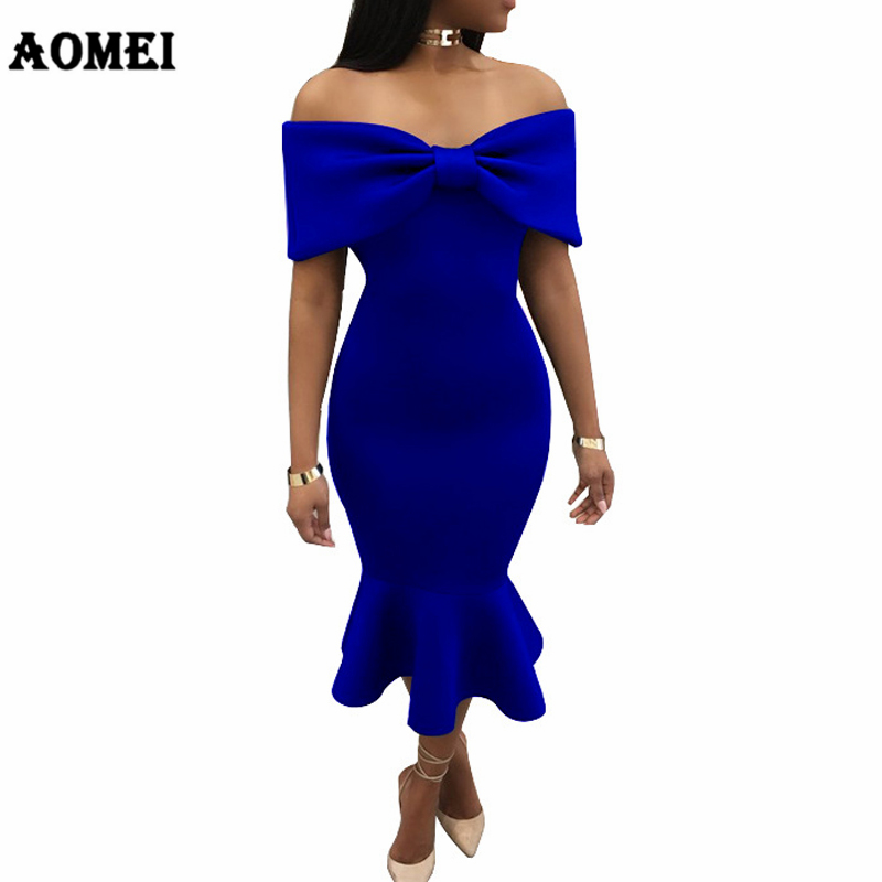 Women Tube Sheath Dress Off Shoulder Bowtie Fishtail Sexy Hot Party  Nightout Evening Tight Club Wear Clothes Robes Femme Summer-in Dresses from  Women s ... 03f345c45772