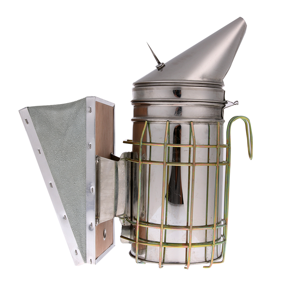 Durable Bee Keeping Smoker Stainless Steel Bee Hive Smoker Small Galvanized with Heat Shield Board Beekeeping Equipment toolProp