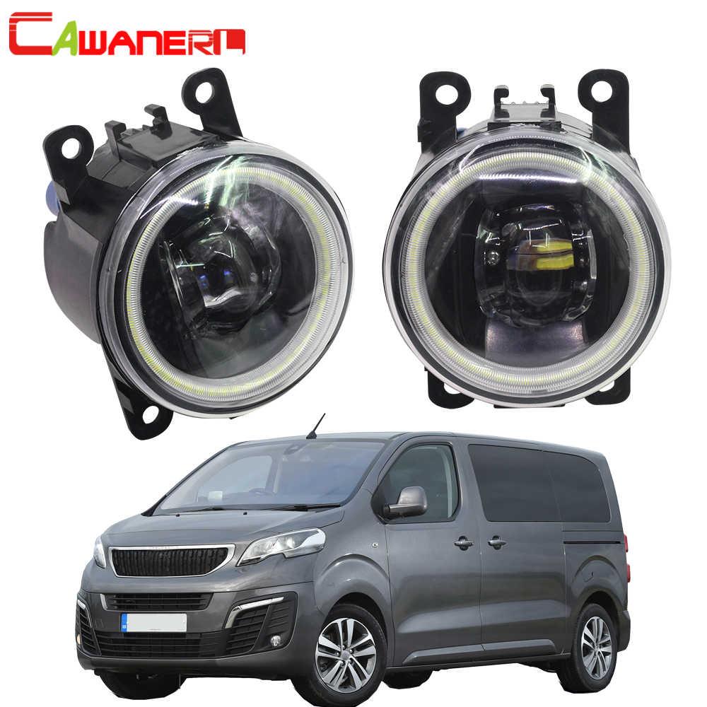Cawanerl For Peugeot Traveller 2016-2018 Car H11 LED Bulb Front Fog Light 4000LM Angel Eye DRL Daytime Running Light 12V