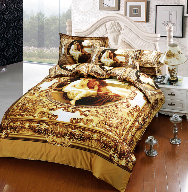 Luxury european royal oil painting 3d printed bedding set - Where can i buy a 3d printed house ...