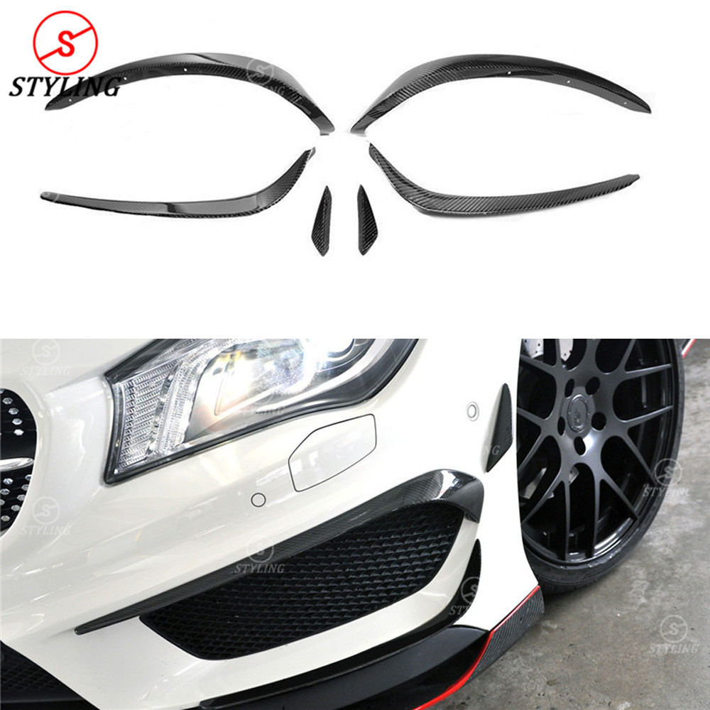 For Mercedes-benz CLA W117 Carbon Front Bumper lip Canard Splitter Body Side Kit CLA45 250 260 AMG Front canard 2014 2015 2016 car accessories mx5 carbon fiber front bumper canard for na mk1 miata body kit ars style mx5 canard cf car styling bumper canard