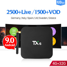 IUDTV Spain Sweden IP TV 1 Year Android 9.0 TX6 4+32G BT5.0 USB3.0 Dual-Band WIFI Full HD Italy UK IPTV Subscripotion 1 Year