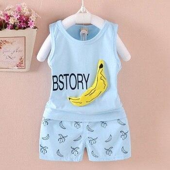 children clothing set 2017 summer new boys girls clothing sets 100% Cotton Korean Banana map Style 2 pieces  baby suits set conjuntos casuales para niñas