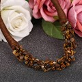 Womens Bib Statement Luxury DIY 100% Natural Amber Stone Choker  Necklace Bohemia Rope Chain Collares Women Jewelry