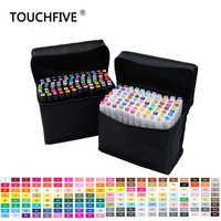 Touchfive 30 40 60 80 168 colores juego de marcadores de bocetos pincel de doble cabeza juego de marcadores de arte para dibujar manga diseño de animación