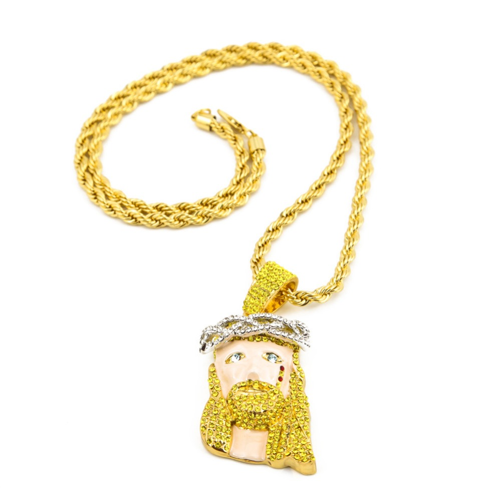 New trendy full crystal iced out jesus piece jesus head for Bling jewelry coupon code