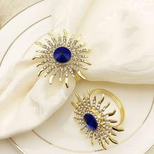 24PCS high-end hotel napkin buckle sun flower zinc alloy diamond ring Western circle cloth towel