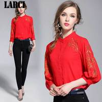 LARCI 3/4 Sleeve Stand Collar Embroidery Red Chiffon Shirts Women Lantern Sleeve Embroidery Red Chiffon Blouses Top N3627