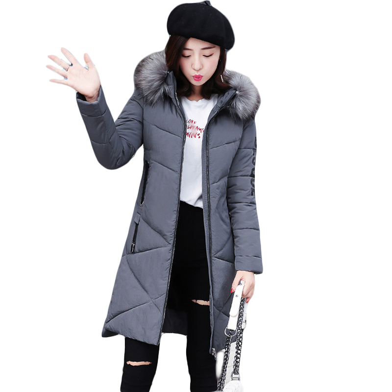 2017 New Winter Jacket Women Long Slim Large Fur Hooded Women Down Cotton Jacket Thick Female Wadded Jacket Plus Size 3XL CM1800 2017 new winter jacket women long slim large fur collar hooded down cotton parkas thick female wadded coat plus size 4xl cm1373