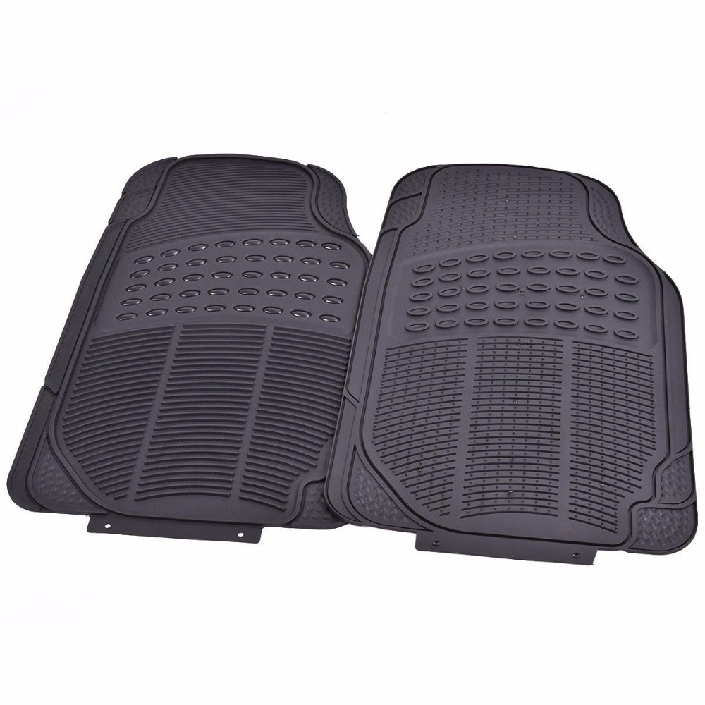 Rubber floor mats for lincoln mkx - 4 Pcs All Weather Van Car Rubber Floor Mat Heavy Duty Front Rear Liners Black