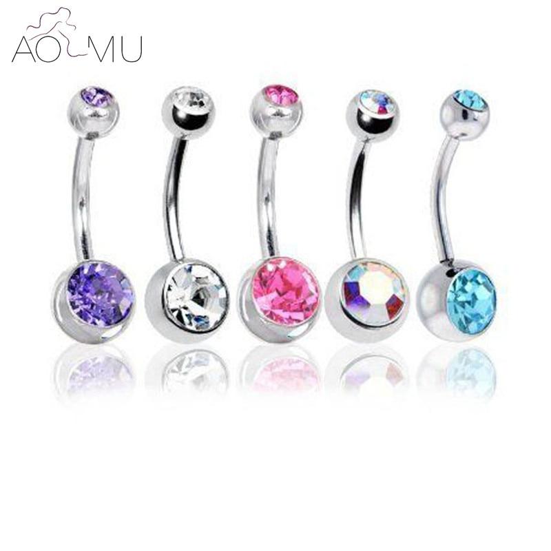 5 шт./лот, кольца на кнопках для живота, хрустальные хирургические стальные ювелирные изделия для тела, пирсинг для живота, пирсинг для насто...