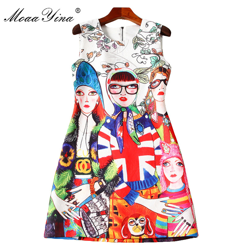 MoaaYina 2018 Fashion Designer Runway Dress Summer Women Sleeveless Cartoon Character Print Jacquard Casual Holiday Mini Dress