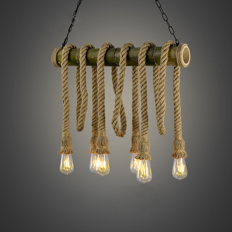 Vintage Rope Pendant Lights Lamp Bamboo Loft Creative Industrial Lamps E27 Bulb Art Deco For Living Room Decoration Warm Light цена