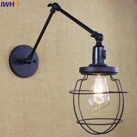 IWHD negro Vintage lámpara de pared con brazo largo interruptor Lampara Led Loft E27 Edison bombilla luces de lámpara de pared de hierro para la casa