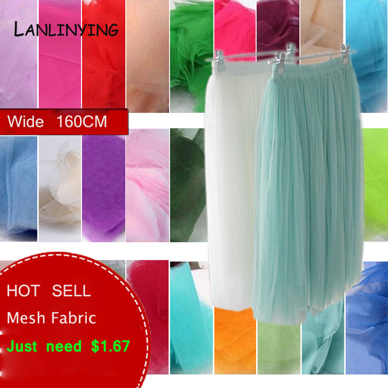 Soft Tulle Mesh Fabric Width 160cm For Wedding Decoration Solid Color Netting Fabric DIY Crafts Skirt Curtain Party Supply P045