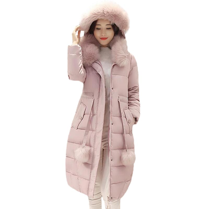2016 Winter Wadded Jacket Female Long Slim Outerwear Large Fur Collar Women Parkas Cotton-Padded Hooded Thicken Coat PW0848 winter women long hooded faux fur collar cotton coat thick wadded jacket padded female parkas outerwear cotton coats pw0999