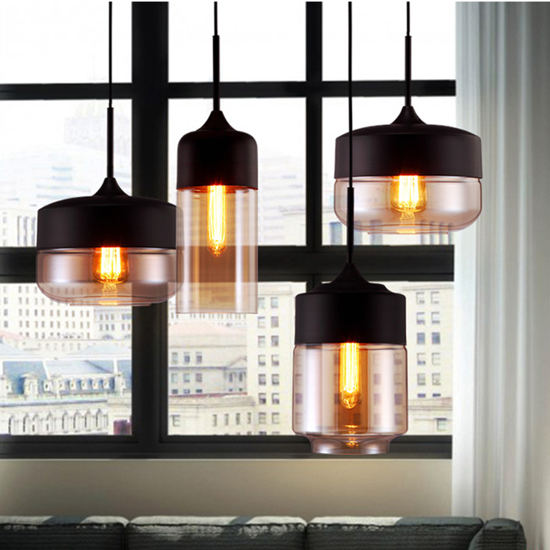 European Glass Pendant Lights Loft Retro Hanging Lamps Home Indoor Lighting Black Gray Droplight Dining Room Restaurant Lamps конвектор supra ecs 520sp white