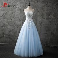 Real Photo 2017 Custom Made Sweetheart Cute Sky Blue Lace Appliques Cheap Long Elegant Formal Evening Prom Dress LIYATT