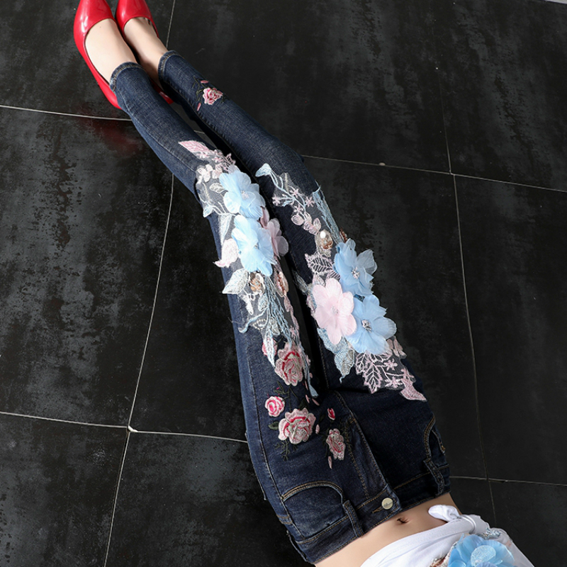 LYFZOUS Fashion   Jeans   Woman With Flower Embroidery Sequined High Waist   Jeans   Elastic Slim Denim Pencil Pants Ladies Trousers