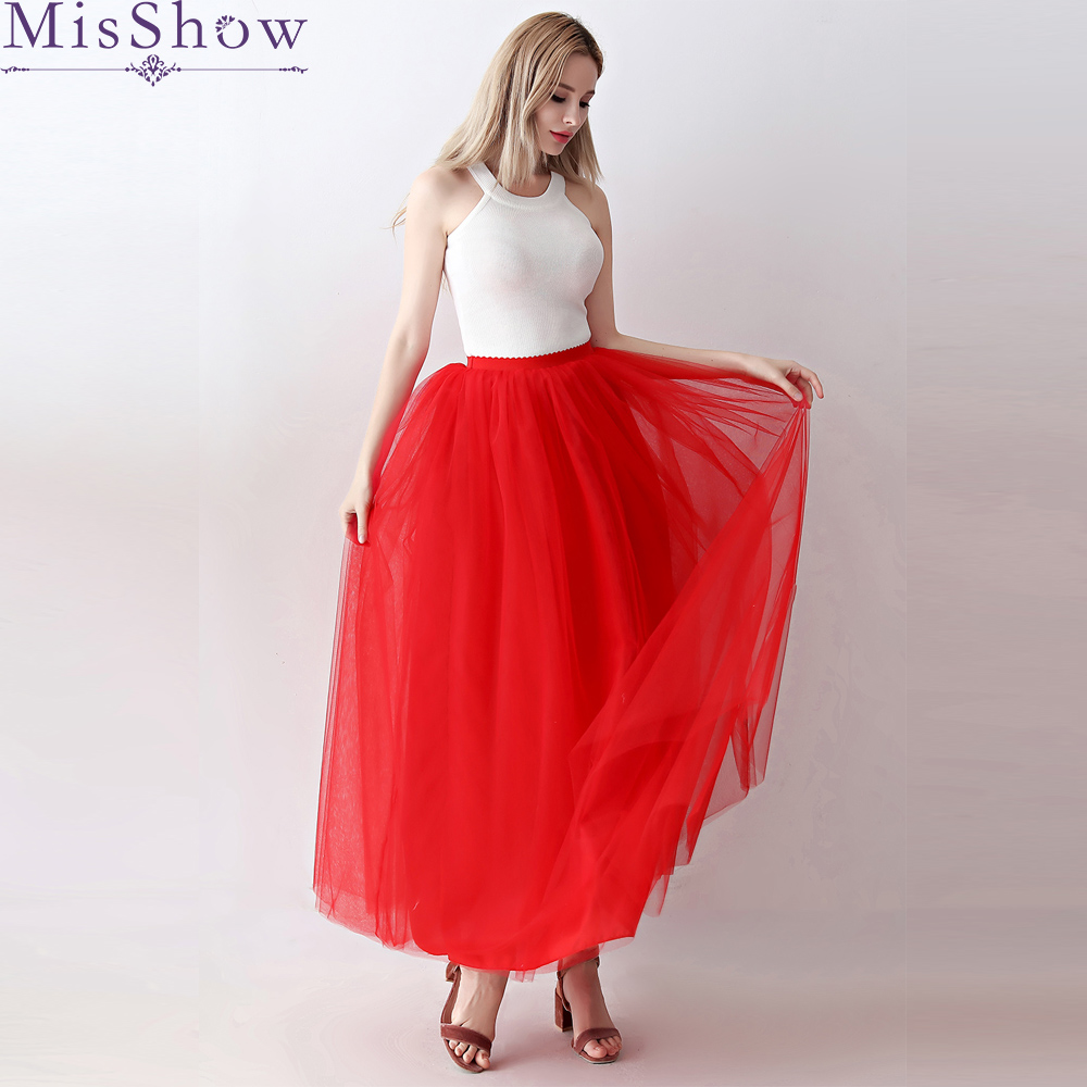 2019 Women Petticoat 100cm Long 5 layer Floor Length Wedding Accessories Tulle underskirt Puffy Fashion A Line Long Tutu Skirts