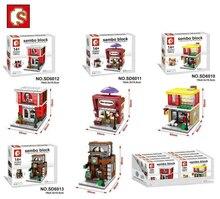 SEMBO Loja DIY Tijolos de Construção de Blocos de Mini Micro Loja de rua 3D Leilão Modelo Crianças brinquedos Educativos Presentes Menino SD6010-SD6017