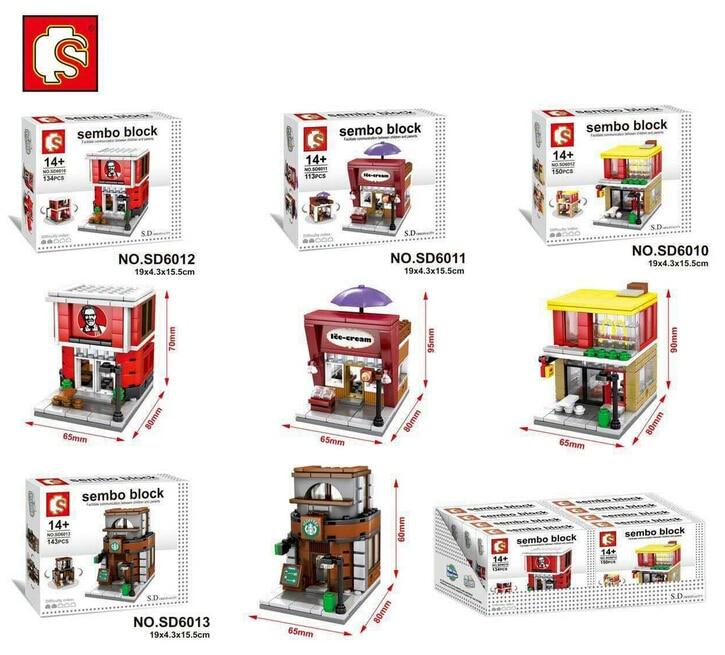 SEMBO bloques Mini tienda DIY edificio ladrillos Micro calle tienda 3D subasta modelo educativo niños juguetes Boy regalos SD6010-SD6017