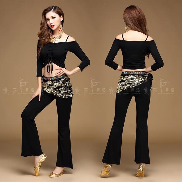 2017 Quality belly dance costume set belly dance clothing indian set gauze set pants color block set 5 colors Top&Pants&Belt