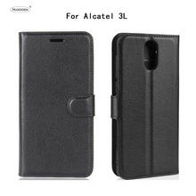 HUDOSSEN For Alcatel 3L 5034D Case Luxury Wallet PU Leather Back Cover Phone Flip Protective Capa