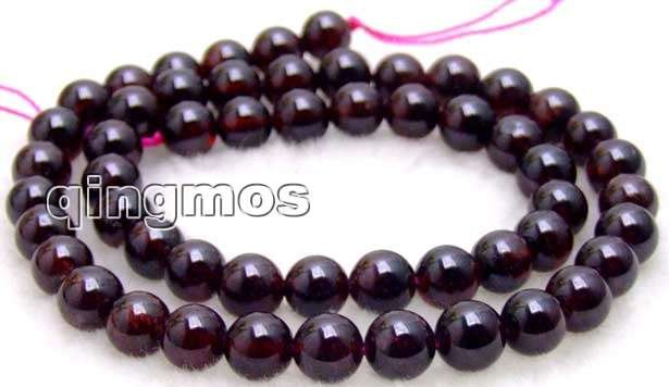 SALE Genuine small 7-8mm Round high quality natural brown garnet Beads strand 15-los201 Wholesale/retail Free ship