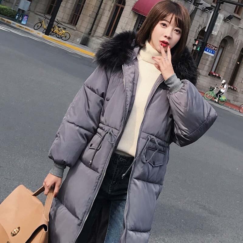 dark D'hiver Coton red Manches Chaud Longues Manteau Mode Taille Nuw241 Black À Fourrure Femmes blue 2018 Col Couleur De Nouveau Gray white Capuchon Grande Solide 4q1w4X