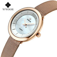 WWOOR Famous Brand Women Watches Stainless Steel Golden Mesh Quartz Wristwatches Fashion Women Clock Ladies Watch