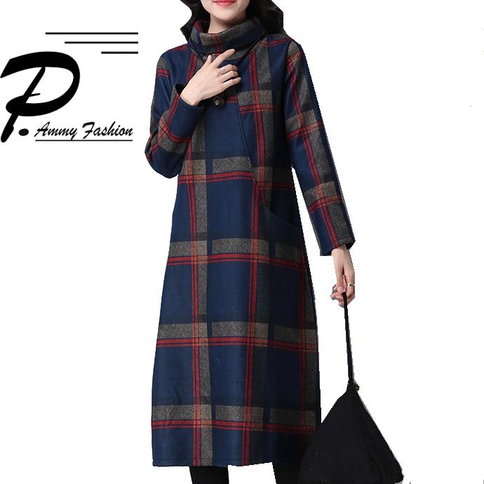 Vintage Wool Piaid Mid-Long Jumper Dress Womens Oversized Turtleneck Long Sleeve Winter Retro Checkered Loose Tunic Dresses