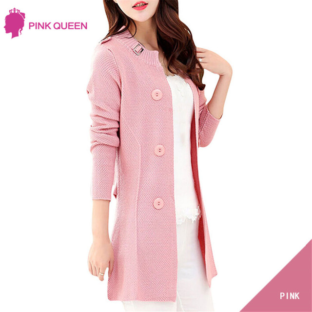 Pink Queen Europe Street Style Cardigans Knitted Sweaters 2016 Women Slim Oversized Cardigan Jacket Long Sweater Coats For Women