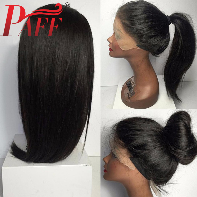 PAFF Full Lace Human Hair Wigs Pre Plucked With Baby Hair Brazilian Remy Hair Straight Full Lace Wigs Bleached Knots Free Part