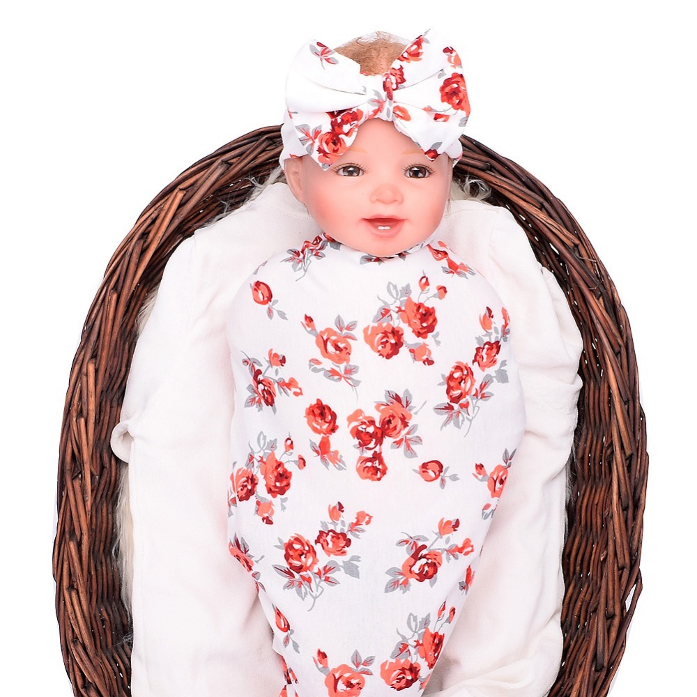 2018 Новая коллекция одежды для маленьких детей ѕеленальное Ндеяло и бантом повязка на голову бутон цветка одеяло для девочек реквизит спальный пелЄнки из муслина с запахом