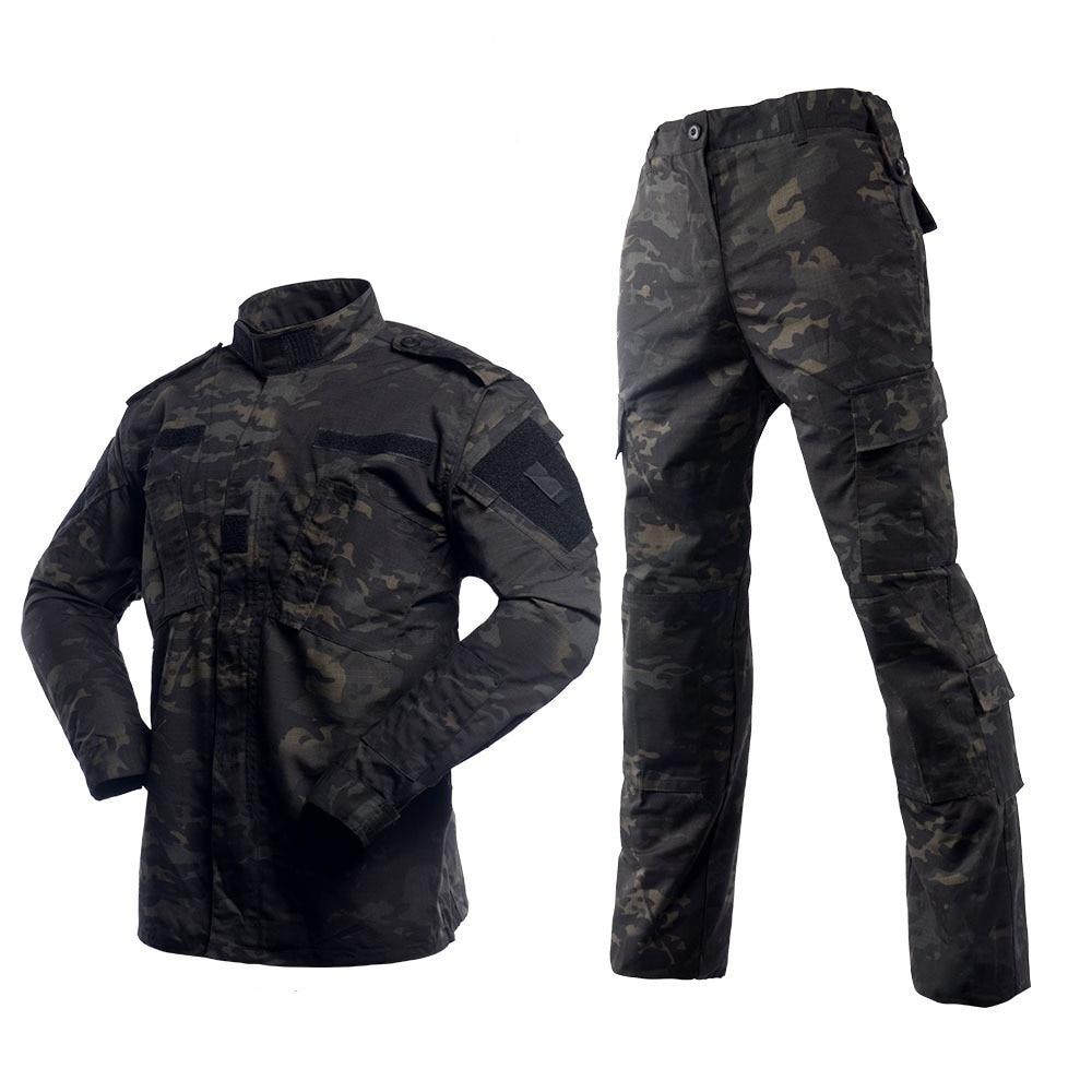 Multicam noir Camouflage chasse vêtements armée militaire tactique uniforme Airsoft Combat chemise et pantalon BDU ensemble Paintball vêtements