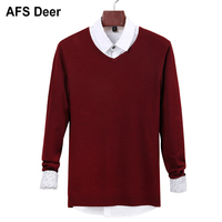 2018 Mens Sweater Wool Pullover Simple Style Solid Knitted V neck Sweaters Jumpers Thin Male Knitwear Blue Red Black M 4XL Tops