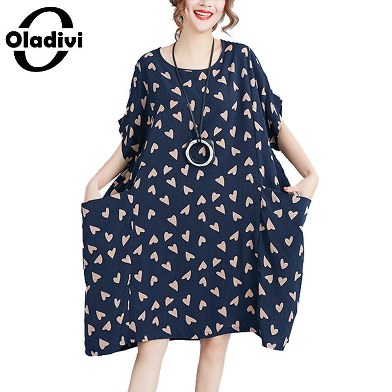 Oladivi Brand Clothing Fashion Print Cotton Linen Casual Desses Woman Big Plus Size Loose Summer Dresses Ladies Long Shirt Tunic