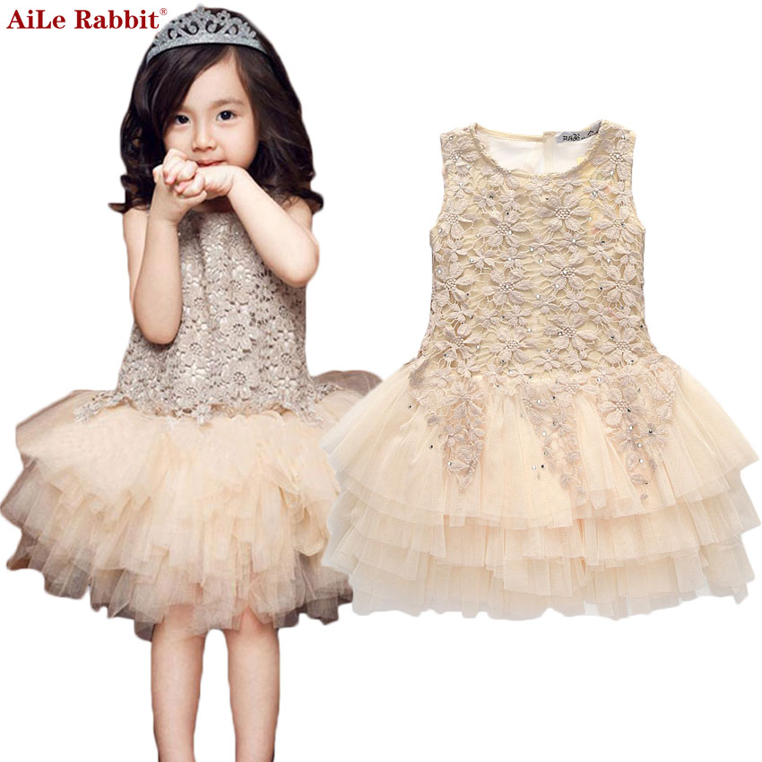 AiLe Rabbit 2017 New arrival Girls Dress Children Princess Party birthday gifts lace tutu dress veil