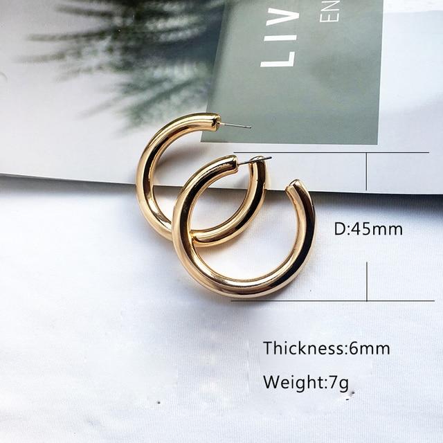 Street Style CC Hoop Chunky Gold Silver Small Big Hoop Earrings For Women Punk Metal Gold Circle Earrings 6