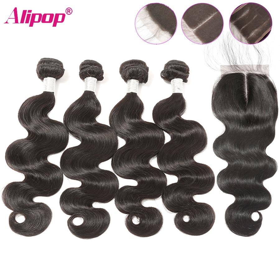 Body Wave Bundles With Closure Malaysian 4 Bundles With Closure Remy 9A Human Hair Bundles With