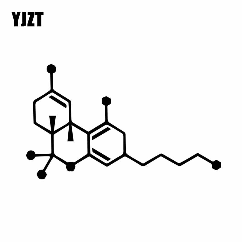 YJZT 15.1CM*8.9CM THC Molecule Vinly Decal Cannabis Pot Weed Art Car Sticker Cool Black/Silver C27-0284