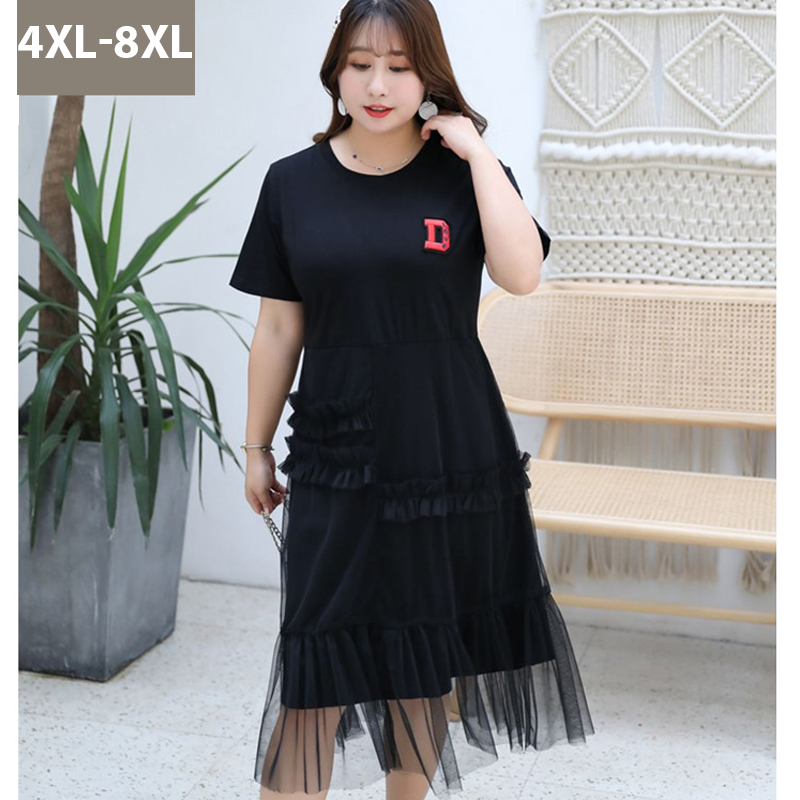 4XL 8XL Summer Women Mesh Dress Casual 5xl Plus size Black Letter Dress Ruffles O Neck 6xl 7xl Large Size Ladies Loose Dresses in Dresses from Women 39 s Clothing