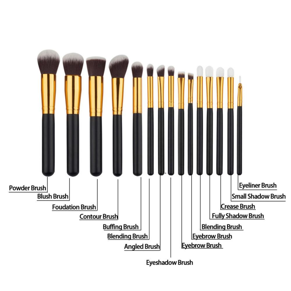 15pcs Eye Face Crease Blending Buffing Makeup Brush Set